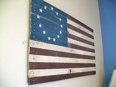 Add a personalized touch to your Fourth of July crafts with a Wooden American Flag. Your patriotic decorations will show your pride, as well as your own design creativity with a DIY woodworking craft. This American flag craft will compliment your dec Patriotic Crafts, July Crafts, Patriotic Decorations, Holiday Crafts, Holiday Ideas, Americana Crafts, Primitive Crafts, Holiday Decor, American Flag Crafts