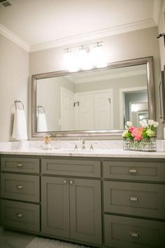 Are you searching for Bathroom Mirror Ideas and inspiration? Browse our photo gallery and selection of custom mirror frames. Find and save ideas about Bathroom mirrors in this article. | See more ideas about Framed bathroom mirrors, Easy bathroom updates and Framing a mirror. #BathroomIdeas #BathroomMirrorIdeas #BathroomVanity