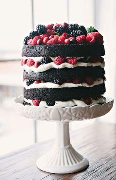 naked chocolate cake with fruit..