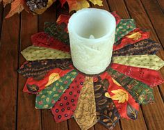Your place to buy and sell all things handmade Dresden Quilt, Dresden Plate, Quilted Table Toppers, Quilted Table Runners, Etsy Quilts, Fall Harvest, Autumn, Fall Quilts, Photo Candles