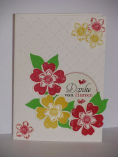 Dankeskarte, Pansy Punch, Petite Petals, Bird Punch, Embossing Folder Big Shot