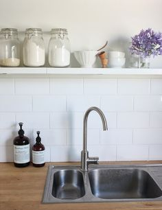 The Happy Home: 9 things I learnt while renovating last time and need to remember Best Picture For DIY Laundry decor For Your Taste You are looking for something, and it is going to tell you exactly w Small Kitchen Storage, Kitchen Shelves, Kitchen Splashback Tiles, Timber Shelves, Tile Countertops, Backsplash, Stainless Sink, Laundry Decor, Cottage Kitchens