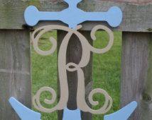 Wood Initial Anchor Door Hanging-Wedding Gift, Navy Gift, Navy Seal, Nautical Gift, Nautical Decor, Personalized Gift, Nursery Decor