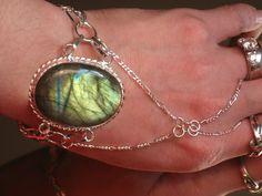 Labradorite Silver Slave Bracelet Ring 925 by TheMysticalOasisGlow, $45.00