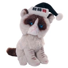 """Grumpy Cat is wearing a black Santa hat with the meme """"HO HO NO."""" Hangtag is in the shape of a speech bubble and printed with the meme """"COAL IN YOUR STOCKING?"""" - Realistic beanbag replica of Gru Black Santa Hat, Grumpy Face, Litter Box, Christmas Gifts, Holiday, Cat Gifts, Bean Bag, Stockings, Teddy Bear"""