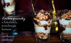 Kávové pusinky s čokoládou, tvarohovým krémom a vanilkovou zmrzlinou