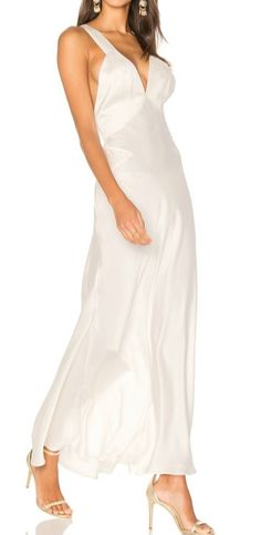 Women's V Neck Sleeveless Backless Solid Maxi Evening Dress