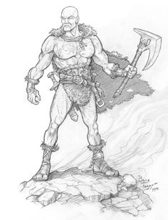 Barbarian Hero by staino | Create your own roleplaying game books w/ RPG Bard: www.rpgbard.com | Pathfinder PFRPG Dungeons and Dragons ADND DND OGL d20 OSR OSRIC Warhammer 40000 40k Fantasy Roleplay WFRP Star Wars Exalted World of Darkness Dragon Age Iron Kingdoms Fate Core System Savage Worlds Shadowrun Dungeon Crawl Classics DCC Call of Cthulhu CoC Basic Role Playing BRP Traveller Battletech The One Ring TOR fantasy science fiction horror