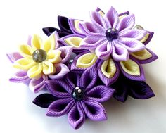 Kanzashi fabric flower hair clip. Shades of purple and by JuLVa