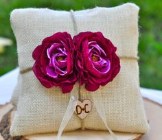 Custom Burlap ring bearer pillow You Pick by happiestcreations, $29.99