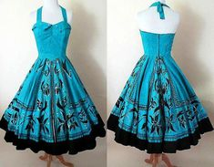Hand Painted Vintage Mexican Halter Dress Silver Sequins Full Circle Skirt Rockabilly Pinup girl vintage Mexican Size S Shades Of Turquoise, Turquoise Color, Silver Dress, Silver Sequin, Rockabilly Outfits, Rockabilly Baby, Rockabilly Clothing, Vintage Dresses, Vintage Outfits