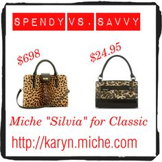 "Classic ladlylike structured shell ""Silvia"" for Classic Miche Base bag has a matching tote sized shell, ""Tereasa"" for the Prima Base bag, and a Petite Base bag shell named ""Tess.""   Add Miche's chain handles to any of them to feed your wild side.  karyn.miche.com"