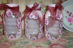 Hand painted rose jars/ canisters