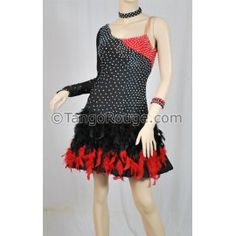 Share me and get 5% off coupon Black Red Feather Latin Rhythm Dance Dress - L