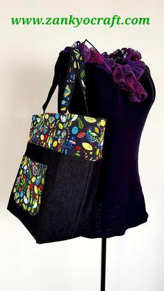 """ Forest Bird"" Denim Tote Bag by Zankyo Craft #handmadefabricbags"