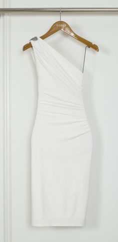 fitted one shoulder white dress