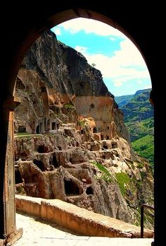 Vardzia (Georgian: ვარძია) is a cave monastery site in southern Georgia, excavated from the slopes of the Erusheti Mountain on the left bank of the Mtkvari River, thirty kilometres from Aspindza.