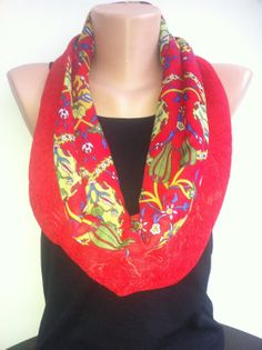 Floral Red Infinity Scarf Women's Scarves Ottoman by ScarfAngel, $21.00
