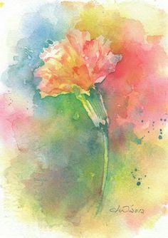Flower, flower painting, original art work, watercolor, original watercolor painting, wall art, Red Carnation - original watercolor painting