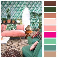 Green & Pink with Earthy Tones.