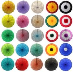 5 x Pretty Mixed Colours  paper fans hanging decorations Hawaiian Party
