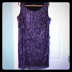 "PLUS SIZE CONNECTED WOMAN DRESS BEAUTIFUL SHIMMERING PURPLE AND SILVER LAYERED DRESS. BUST 44"" AND LENGHT IS 37"". CONNECTED WOMAN Dresses"