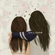 Girly m friends - New Ideas Girly M, Best Friend Drawings, Girly Drawings, Friends Sketch, Sisters Drawing, Cute Girl Drawing, Cute Girl Wallpaper, Digital Art Girl, Bff Pictures