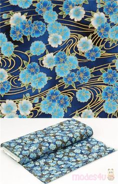 cotton fabric with sakura flowers in different shades of blue, with metallic gold outlines and wavy lines, Material: 100% cotton, Fabric Type: smooth cotton fabric #Cotton #Flower #Leaf #Plants #Metallic #USAFabrics