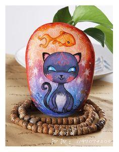 石头画,猫咪和鱼