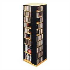 New Leslie Dame Revolving CD / DVD Storage Tower, Oak Black online - Greattopfurniture Dvd Storage Tower, Cd Storage, Media Storage, Home Entertainment Furniture, Ball Chair, Floating Wall, Adjustable Shelving, Multimedia, Spinning