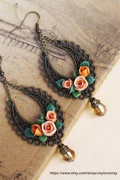 Vintage earrings, flowers earrings, vintage earrings , jewelry , bronze, polymer clay handmade on Etsy, $25.00