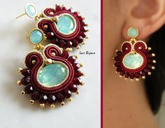 Soutache Earrings Handmade Earrings Hand Embroidered by LaviBijoux Bead Embroidery Jewelry, Fabric Jewelry, Beaded Embroidery, Jewelry Knots, Diy Jewelry, Jewlery, Shibori, Earrings Handmade, Handmade Jewelry