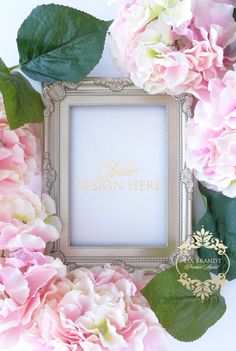 Styled Stock Photography Gold Frame Photo Canvas Art Flatlay Mockup Blush Pink Peonies Hydrangeas - $15 on Etsy