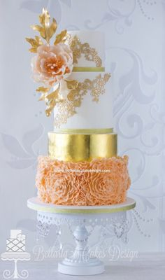 pastel peach cake | Peach ruffles and gold wedding cake.
