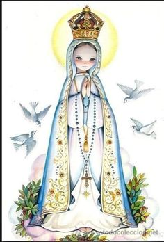 Mama Mary, Mary I, Holy Mary, Blessed Mother Mary, Blessed Virgin Mary, Religious Images, Religious Art, Jesus Cartoon, Lady Of Fatima