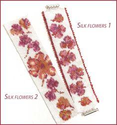 Silk Flowers Peyote Beaded Bracelet Kit Peyote Beading, Beaded Bracelets, Metal Slide, White Beads, Needle And Thread, Bead Weaving, Silk Flowers, Floral Tie