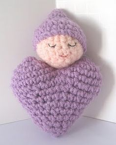 Free Crochet Pattern: Heart Shaped Baby Doll   this is cute. looks easy