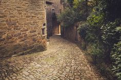 Old cobblestone street in the medieval city of Bruniquel, France by Julien Boe on 500px