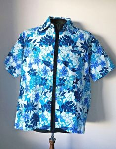 0a50e8d62 Aisokula Fiji Men Hawaiian Shirt - White with Blue Flowers & Leaves  Size XL #