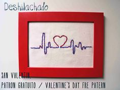 Deshilachado: Bordado de San Valentín, patrón gratuito / Valentine's Day embroidery, free pattern