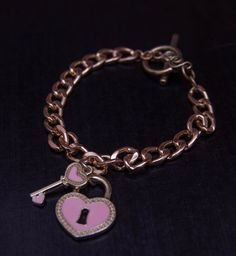 Golden link chain with pink key to my heart charms. Be inspired. http://charmingtondesigns.com/