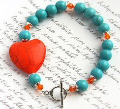 Orange and Aqua Blue Turquoise Bracelet Large Heart by KapKaDesign, $47.00