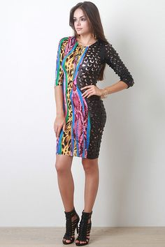Animal Print Perforated Dress - https://www.ktique.com/collections/dresses #lovektique
