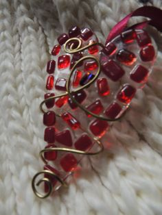 Red mosaic fused glass heart ornament. $10.00, via Etsy.