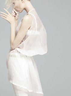 """Total White"". Vika Falileeva by Emilio Tini for Flair May 2011"