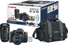 Canon - EOS Rebel T6i DSLR Camera with 18-55mm and 55-250mm Lenses, Bag and Memory Card - Black