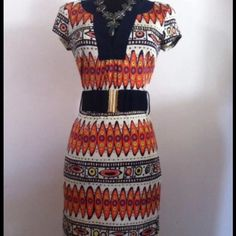 Trina Turk silk dress Trina Turk silk dress size 2 comes with matching belt that has brass finish navy blue and orange Trina Turk Dresses