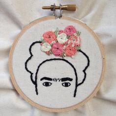 Handmade Embroidery Hoop Art Frida Kahlo by TheCraftRoomMaven