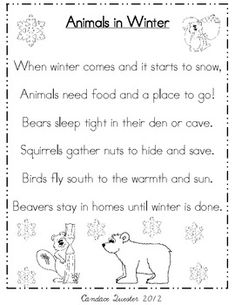 Animals in Winter Poem Pack/Mini Unit