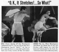 """Just a couple of men, getting together for a pillow fight while one of them shows of his """"Stretchy Seat."""""""
